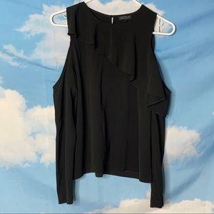 Topshop- Black Long Sleeve Cut Out Shoulder Top 6